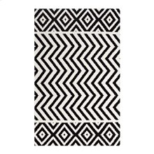 Ailani Geometric Chevron / Diamond 5x8 Area Rug in Black and White