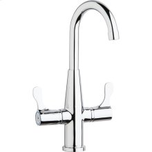 Elkay Single Hole Deck Mount Faucet with Gooseneck Spout Twin Lever Handles Chrome