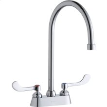 """Elkay 4"""" Centerset with Exposed Deck Faucet with 8"""" Gooseneck Spout 4"""" Wristblade Handles Chrome"""
