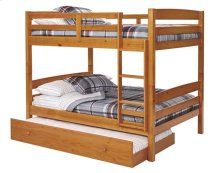 Pine Ridge Square Post Bunk Bed with options: Honey Pine, Full over Full