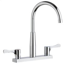"""Elkay 8"""" Centerset Exposed Deck Mount Faucet with Gooseneck Spout and 2-5/8"""" Lever Handles Chrome"""