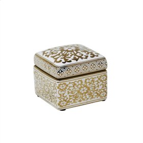 Square White/gold Jar 6""