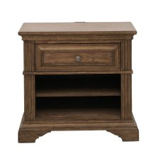 Nightstand With One Drawer and USB Port