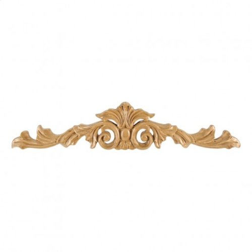 """15-1/4"""" x 1/2"""" x 3-1/4"""" Hand Carved Acanthus Onlay, Species: Rubberwood"""