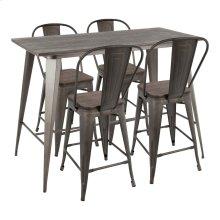 Oregon High Back Counter Set - Antique Metal, Espresso Bamboo