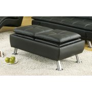 Dilleston Contemporary Black Ottoman Product Image