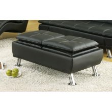 Dilleston Contemporary Black Ottoman