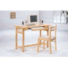 DESK/COMPUTER W/2STRIPE BK SIDE CHAIR WOOD NTL/F