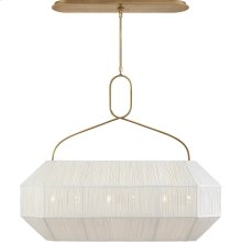 Visual Comfort KW5317AB-L Kelly Wearstler Forza 6 Light 40 inch Antique-Burnished Brass Linear Lantern Ceiling Light, Medium Gathered