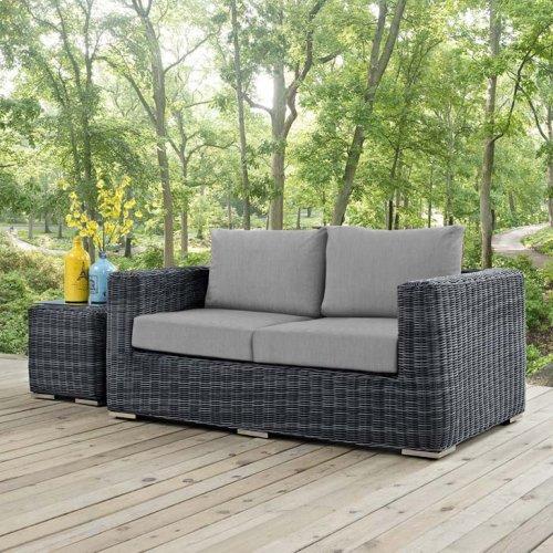 Summon Outdoor Patio Sunbrella® Loveseat in Canvas Gray