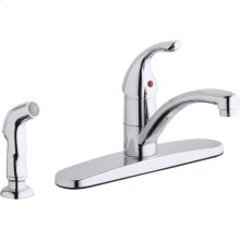 Elkay Everyday Four Hole Deck Mount Kitchen Faucet with Lever Handle and Side Spray and Escutcheon Chrome