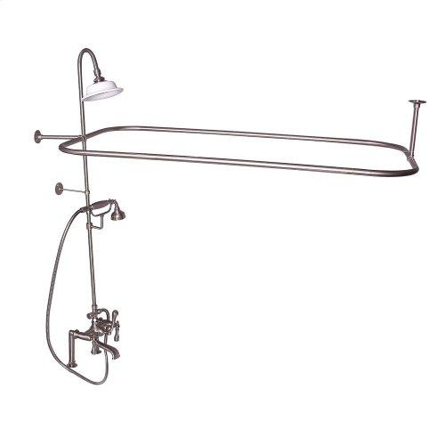 Rectangular Shower Unit - Metal Lever 2 Handles - Brushed Nickel