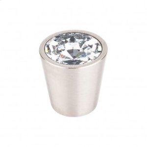 Clear Crystal Center Knob 1 1/16 Inch - Brushed Satin Nickel
