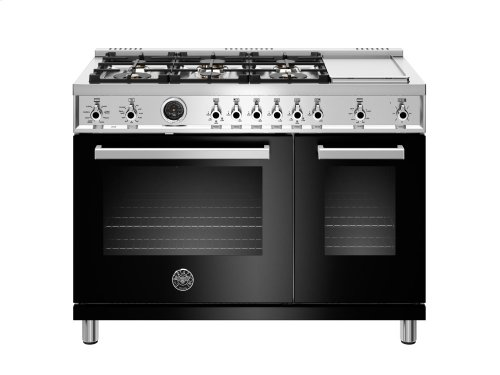 48 inch 6-Burner + Griddle, Electric Self-Clean Double Oven Black