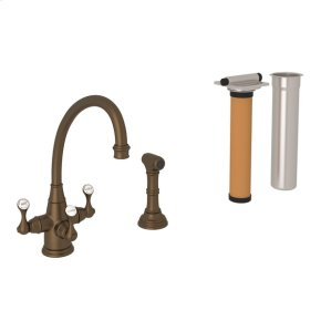 English Bronze Perrin & Rowe Georgian Era 3-Lever Kitchen Faucet With Sidespray with Etruscan Metal Lever