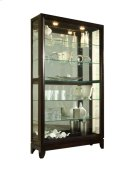 Sliding Door 5 Shelf Curio Cabinet in Deep Brown Product Image