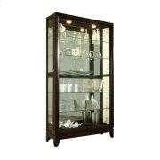 Sliding Door 5 Shelf Curio Cabinet in Deep Brown Product Image
