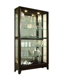 Sliding Door 5 Shelf Curio Cabinet in Deep Brown