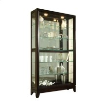 Sliding Door 5 Shelf Curio Cabinet in Deep Brown