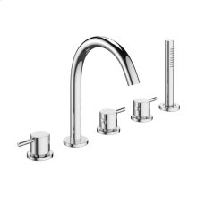 MPRO Deck Mount Five Hole Tub Faucet with Handshower - Polished Chrome