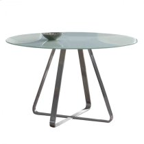 Cameo Modern Dining Table In Stainless Steel With Painted Glass Top Product Image