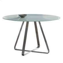 Cameo Modern Dining Table In Stainless Steel With Painted Glass Top