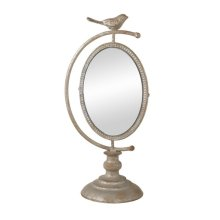 Antique Silver Bird Vanity Mirror