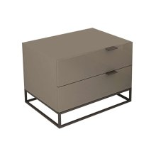 The Vizzione High Gloss Light Gray Lacquer Nightstand / End Table