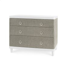 Montclair Oxford Weave Large 3-Drawer, Gray and White