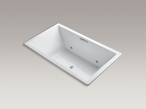 """Thunder Grey 72"""" X 42"""" Drop-in Bubblemassage Air Bath With Chromatherapy and Center Drain"""