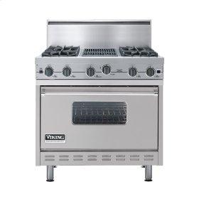 "Metallic Silver 36"" Open Burner Commercial Depth Range - VGRC (36"" wide, four burners 12"" wide char-grill)"
