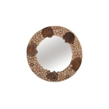 Teak Patch Stick Mirror, Round, SM
