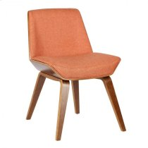 Armen Living Agi Mid-Century Dining Chair in Walnut Wood and Orange Fabric Product Image