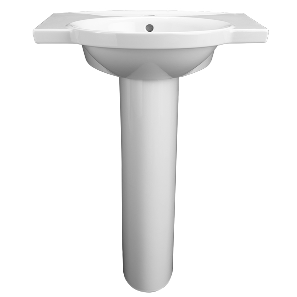Lowell 26 Inch Pedestal Bathroom Sink  Single Faucet Hole   Canvas White