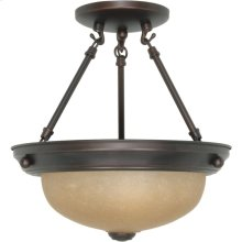 2-Light Small Dome Semi Flush Ceiling Light Fixture in Mahogany Bronze Finish with Champagne Linen Glass