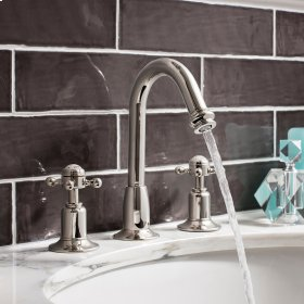 Belgravia Crosshead Tall Spout Widespread Lavatory Faucet - Polished Nickel