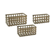 Distressed Galvanized Rectangle Basket (3 pc. set)