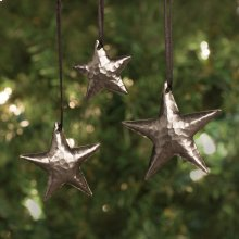 3 Brushed Nickel Star Ornaments