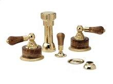 Four Hole Bidet Set Montaione Brown Onyx - Polished Brass