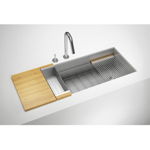 "SmartStation 005406 - undermount stainless steel Kitchen sink , 18"" × 18 1/8"" × 10""  12"" × 18 1/8"" × 10"" (Maple)"