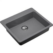 "Elkay Quartz Classic 25"" x 22"" x 5-1/2"", Drop-in ADA Sink with Perfect Drain, Greystone"