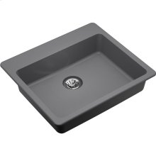 "Elkay Quartz Classic 25"" x 22"" x 5-1/2"", Drop-in ADA Sink with Perfect Drain, Greystone"
