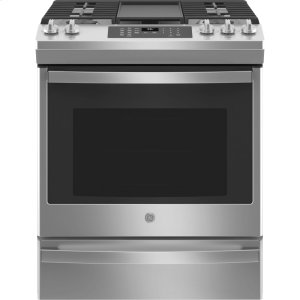 """GE®30"""" Slide-In Front-Control Convection Gas Range with No Preheat Air Fry"""