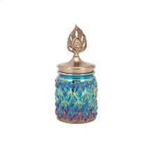 Peacock Lidded Small Decorative Canister