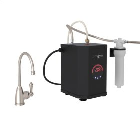 Satin Nickel Perrin & Rowe Georgia Era C-Spout Hot Water Faucet, Tank And Filter Kit with Traditional Metal Lever