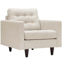 Empress Upholstered Fabric Armchair in Beige