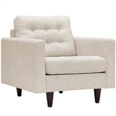 Empress Upholstered Fabric Armchair in Beige Product Image
