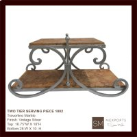 Travertine Marble Two Tier Serving Tray Product Image