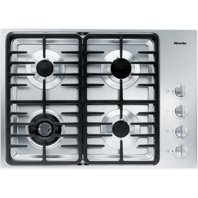 Miele KM 3465 LP Gas cooktop with a dual wok burner for particularly wide ranging burner capacity.