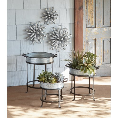 Large Galvanized Dimensional Flower Wall Decor